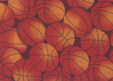 "Brown and Orange Packed Basketballs 100% Cotton Fabric  BTY 44"" wide"