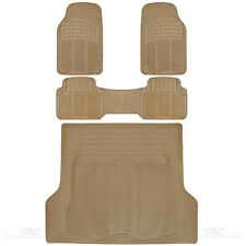 SUV Car Floor Mat 4 pc Rubber All Weather HD Front Rear & Trunk Cargo Beige Mats