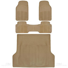 SUV Car Floor Mat 4 pc Rubber All Weather HD Front Rear & Trucnk Cargo Beige