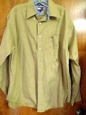 Mens Tommy Hilfiger Button Long Sleeved Plain Shirt Vintage Size L
