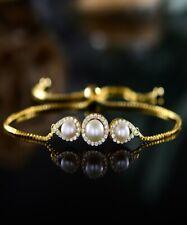 Sevil 18K Gold Plated Pearl Adjustable Bracelet With Swarovski Elements