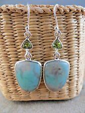 New Aqua Blue Green Chrysoprase Stone Dangle Sterling Silver Wire Earrings #135