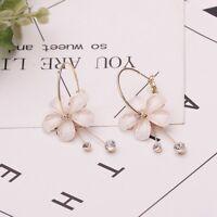 Fashion Women Flower Crystal Long Drop Dangle Earrings Hoop Ear Stud Jewelry New