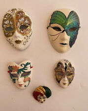 5 Italian Venetian Decorative Ceramic Hand Painted Wall Masks Carnival 1 Brooch