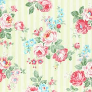 Cottage Chic & Shabby Lecien Princess Rose 31264L-60 w/Lime Stripes BTY