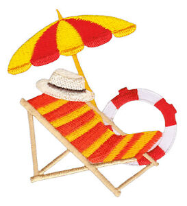Aa74 Lounger Parasol Lifebuoy Sew-On Iron-On Patch 3x3in