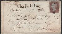 1852 ALPH2 SG8 1d RED BROWN ON IRISH COVER BALLINA TO DUBLIN (BA)
