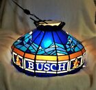 Rare vintage 1980's Busch Beer Hanging Light with Swag Tiffany Style Lamp Shade