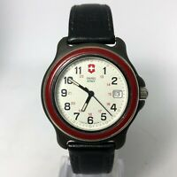 Vintage Swiss Army Mens Marlboro Cavalry Date Indicator Quartz Analog Wristwatch