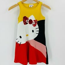 Desigual Hello Kitty Dress Size 7/8 Girls Sleeveless Cotton Sequin Round Neck