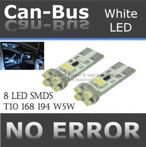 2 pair T10 No Error 8 LED Chips Canbus White Plug & Play Back Up Light Bulb Y113