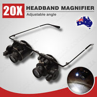 New 20x Headband Magnifier Jewellers Magnifying Glass Head Eye Led Lamp Len AU