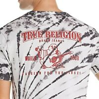 True Religion Men's Void Tactics Tie Dye Buddha Logo Tee T-Shirt in Black Smoke
