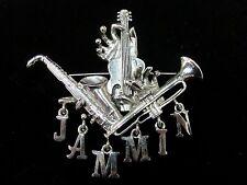 Pin Large Silver Dangle Music Musical Instruments Jammin Saxophone Guitar Horn