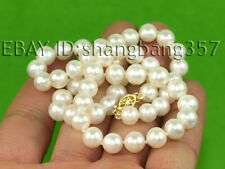 Fashion 7-8mm natural freshwater cultured round white pearl necklace 18""