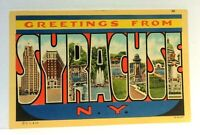Syracuse New York Large Letter Greetings Linen Vintage Postcard
