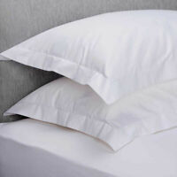 2 x Oxford Pillow Cases Covers Hotel Quality 100% Cotton 200 Thread count White