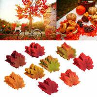 100/200/300/500 Autumn Maple Leaf Fake Silk Leaves Craft Wedding Party Decor UK