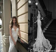 Berta Wedding Dresses Sleeveles Lace Court Train Tulle White Mermaid Bridal Gown