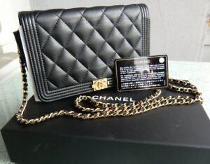 Original CHANEL small Black Boy caviar leather Bag