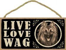 "Live Love Wag Belgian Tervuren Cute Dog Sign 5""x10"" NEW Wood PLAQUE USA MADE 703"