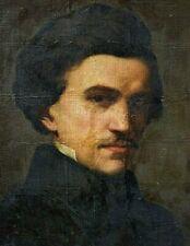 Tableau ancien huile portrait d' homme baroque XVIIème école Française XIXème