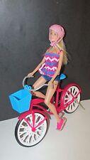Mattel blonde Barbie Doll with pink helmet bike blue basket bending legs