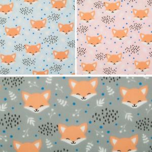 Blushing Fox Fabric - Animal Wildlife Leaves - Children Kids Polycotton Material