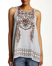 NWT $100 Max Studio Edition Halter Blouse Size S White Red Tunic Relaxed A-line