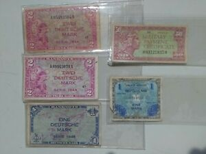 RARE!(5) VARIOUS MILITARY PAYMENT CERTIFICATE Bill Currency UNC?