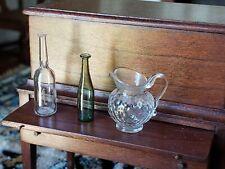 Dollhouse Miniature Artisan Ferenc Albert Glass Pitcher 2 Bottles 1:12