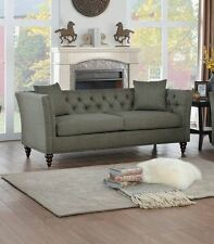 SLEEK BUTTON TUFTED GRAY GREY  SOFA LIVING ROOM FURNITURE