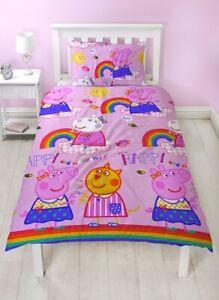 Official Peppa Pig Hooray Reversible Single Duvet Cover Bedding Set George Sheep