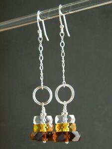 Art Deco Brown, Amber, Clear Glass Rondelles & 925 Sterling Silver Long Earrings