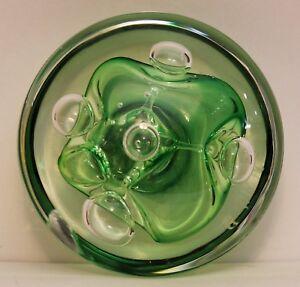 """Stunning Rollin Karg Disc Art Glass Sculpture PAPERWEIGHT 3.5 x 2 """""""