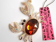 Betsey Johnson Rhinestone crab Pendant Necklace #N19