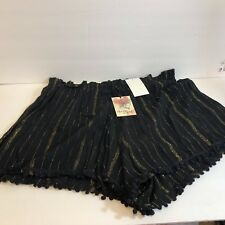 NWT About A Girl Juniors Sz L Black with Gold stripes Tassels 100% Poly Shorts