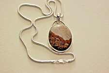 "A large Sterling silver and picture jasper pendant necklace,hallmarked 18"" chain"
