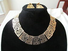 Mary Ann Scherr Handcrafted Necklace Earrings gold Gilt Lace Panels Signed
