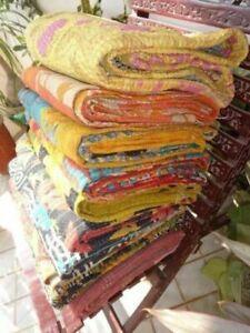 Vintage Kantha Quilt Indian Bedspreads Traditional Blanket Cotton Bed Cover Boho
