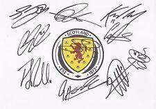 SCOTLAND FOOTBALL SIGNED A4 (12x8) BADGE WHITECARDx10+COA *RITCHIE* *MARTIN*