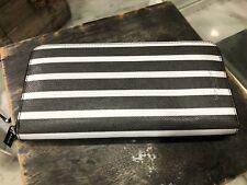 Michael Kors Mens Unisex Kent Zip Around Long Clutch Wallet Black & White $198