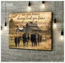 Cow May Your Journey Always Lead You Home Satin Poster No Frame