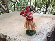 "New Hawaiian  Dashboard Hula Doll Dancer Girl Posing Natural Skirt 4"" tall."