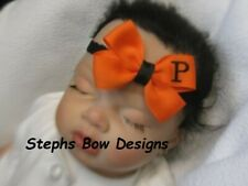Orange w/ Black Monogram Dainty Hair Bow Headband Personalized Preemie Toddler