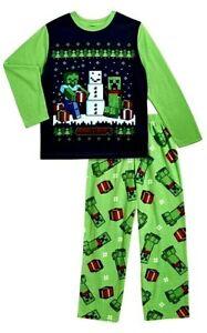Minecraft Boys 2 pc Pajama Set Christmas NWT Pants Shirt Sleepwear XL 14-16