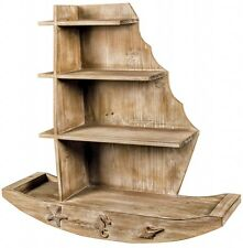 Vintage Rustic Solid Wood Sail Boat Shelves Nautical NEW Bathroom Boys Bedroom