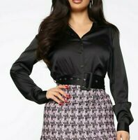 Long Sleeves Button Down Shirt Belted Satin Black Stretchy Blouse Top Small S