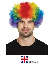 CURLY RAINBOW AFRO WIG Pride Fancy Dress Party Clown Funky Disco Hair Costume UK