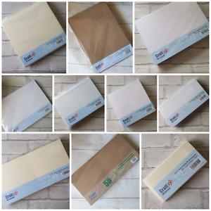 Craft UK card blanks and envelopes - white ivory kraft - ALL SIZES - FREE P&P!